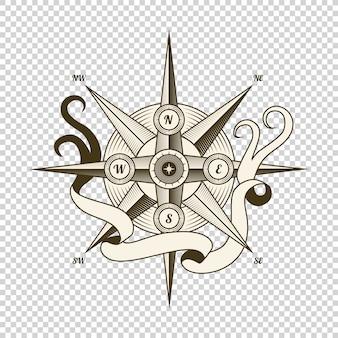 ビンテージ航海コンパス。海洋のテーマと紋章の古いベクターデザイン要素。手描き風ローズ