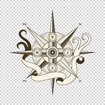 Vintage nautical compass. old vector design element for marine theme and heraldry. hand drawn wind rose