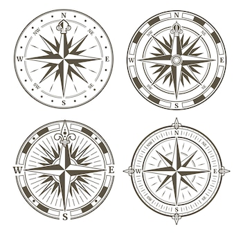 Vintage nautical compass signs vector set