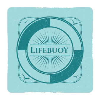 Vintage nautical grunge label with lifebuoy