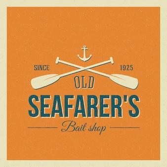 Vintage nautical   label or logo with retro print look