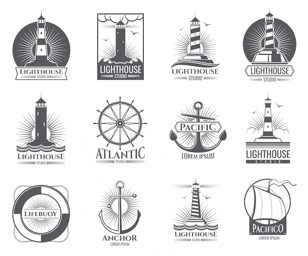 Vintage nautical labels with light house, sea boat and anchors. old navy logos set with anchor and light house illustration