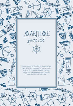 Vintage nautical light poster with text in rectangular frame and hand drawn marine elements