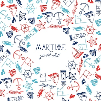 Vintage nautical poster with text and hand drawn marine elements on white