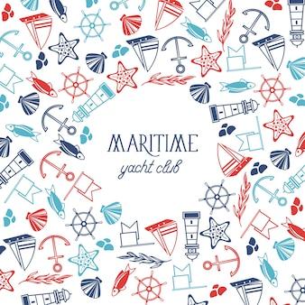 Poster nautico vintage con testo ed elementi marini disegnati a mano su bianco