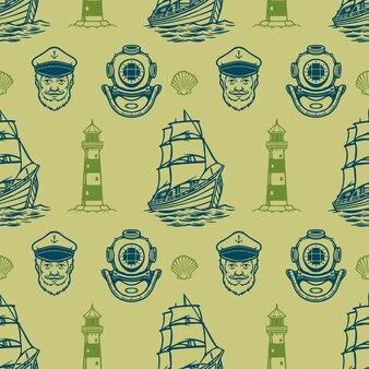 ヴィンテージ航海シームレスパターン