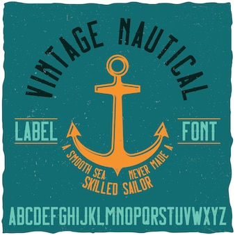 Vintage nautical typeface and sample