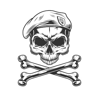 Vintage navy seal skull in beret