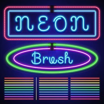 Vintage neon electric stroke custom pattern brushes, casino and xmas light border