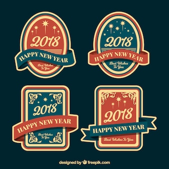 Vintage new year 2018 badge collection in blue and red