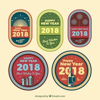 Collezione di distintivi vintage 2018 del nuovo anno