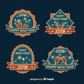 Vintage new year 2018 labels set