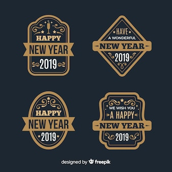Vintage new year 2019 badge collection