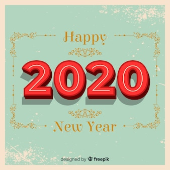 Vintage new year 2020 background