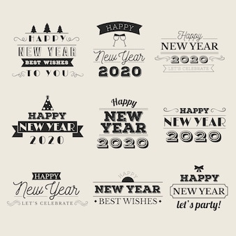 Vintage new year 2020 badge collection