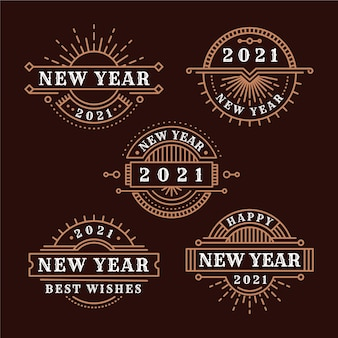 Vintage new year 2021 badge collection