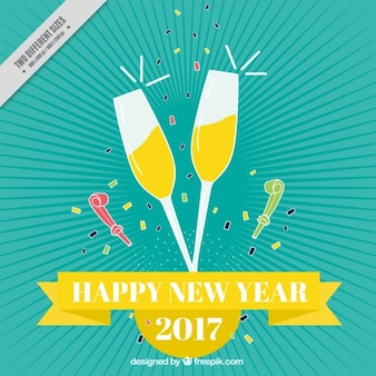 Vintage new year background glasses with champagne
