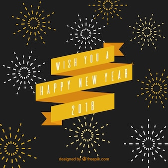 Vintage new year background with a yellow ribbon