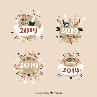 Vintage new year badges collection