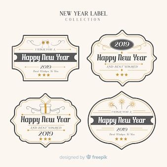 Vintage new year label collection