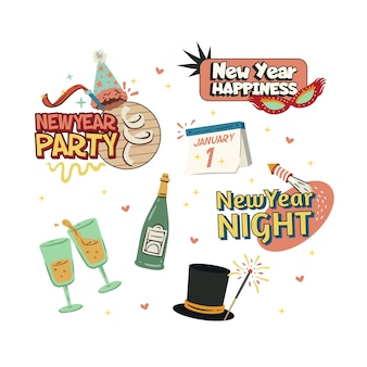 Vintage new year party element collection