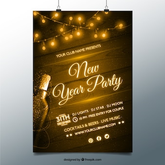 Vintage new year party poster Free Vector