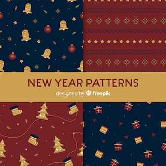Vintage new year pattern collection