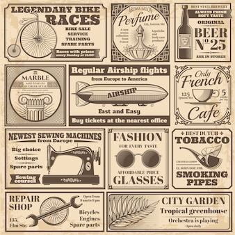 Vintage newspaper advertising labels vector set