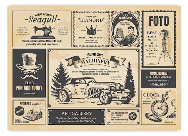 Vintage newspaper advertising