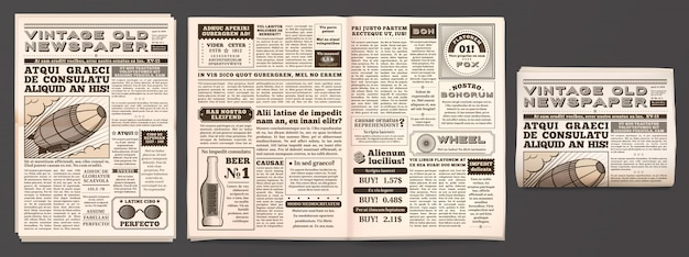 Vintage newspaper mockup, retro newsprint pages, tabloid magazine and old news isolated 3d  template