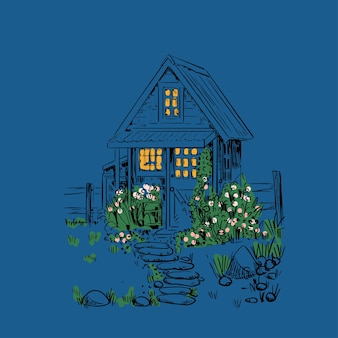 Vintage night illustration with a tiny house, garden and flowers. rustic landscape.