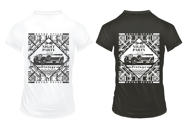 Vintage night party prints template with inscription classic automobile and geometric retro traceries on shirts isolated