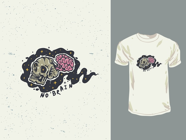 Vintage no brain skull illustration