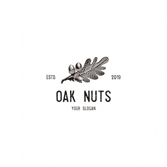 Vintage oak nut and leaf logo illustrations