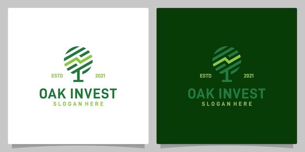 분석 투자 로고 영감이 있는 빈티지 오크 나무 추상 디자인 로고 벡터. 프리미엄 벡터