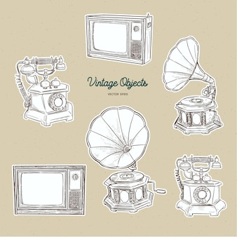 Vintage object set, hand draw sketch vector.