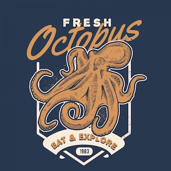 Vintage octopus handdraw style seafood