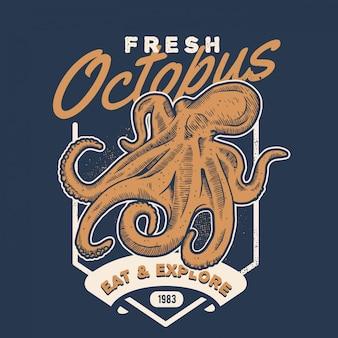 Винтажный стиль морепродуктов осьминога