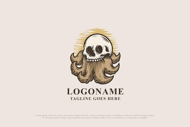 빈티지 문어 해골 디자인 로고