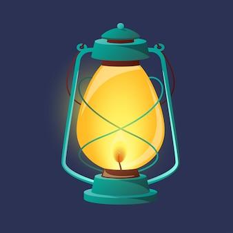 Vintage oil lantern, metal lamp.