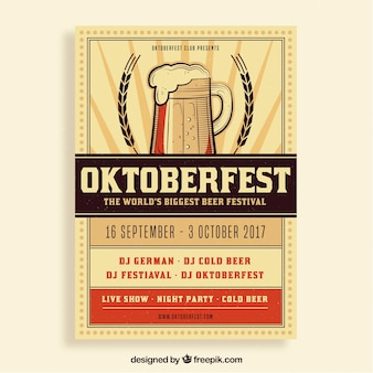 Vintage oktoberfest poster with beer and wheat