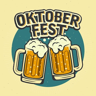 Vintage oktoberfest with pints of beer