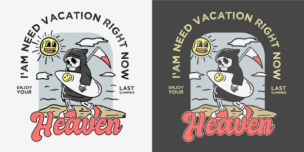 Vintage old cartoon style surfer skeleton illustration
