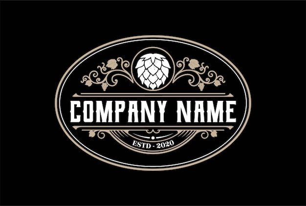 クラフトビール醸造醸造所のロゴデザインベクトルのヴィンテージオールドホップ