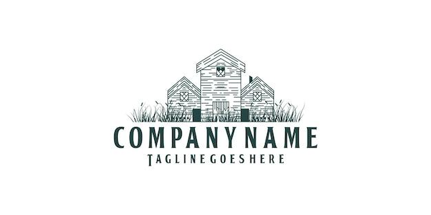 Старинный старый дом вилла дизайн логотипа и трава