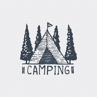 Vintage old logo or badge, label engraved and old hand drawn style with camping tent
