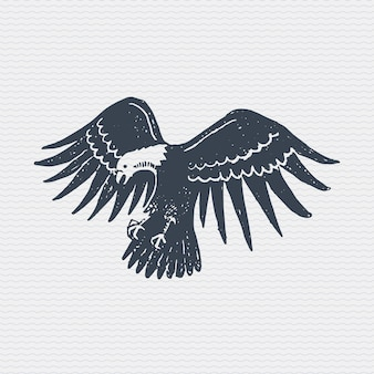 Vintage old logo or badge, label engraved and old hand drawn style with wild bald eagle
