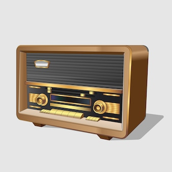 Vintage old radio. classic old radio in a wooden case. realistic retro old radio on white background. isolated