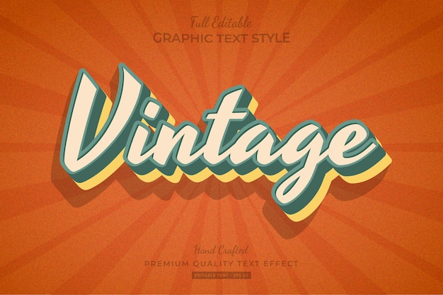 Vintage old retro editable   text effect font style