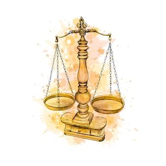 빈티지 오래 된 규모, 법 수채화, 손으로 그린 스케치의 스플래시에서 확장됩니다. 정의의 상징